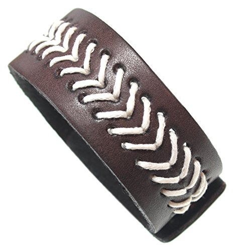 BSJ Brown Leather Cuff Bracelet with Woven Accent and Adjustable Snaps for Men, Women, - Bracelet Leather Baseball