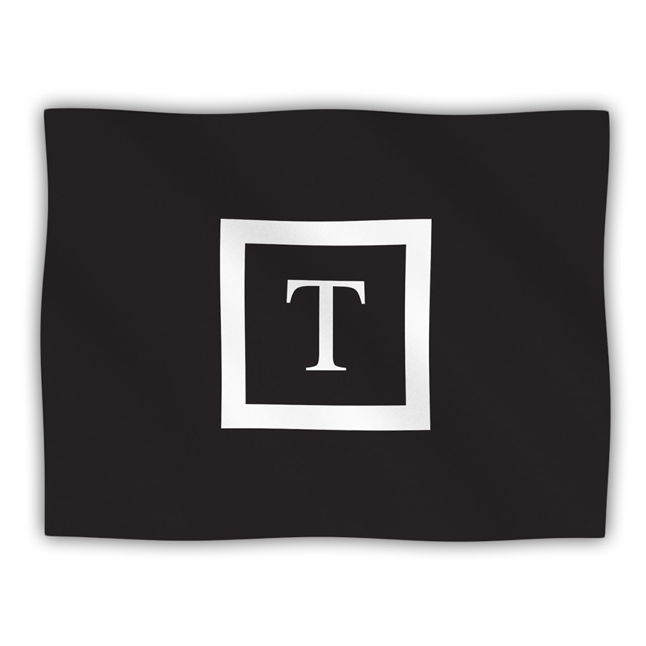 Kess InHouse Kess Original Monogram Solid Black Letter T  Pet Dog Blanket, 60 by 50-Inch