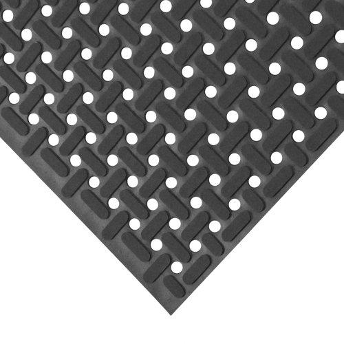 "Rubber-Cal 03_183_WBK_03""Paw-Grip"" 100% Nitrile Non-Slip Rubber Matting, 3/8"" x 34"" x 36"", Black"