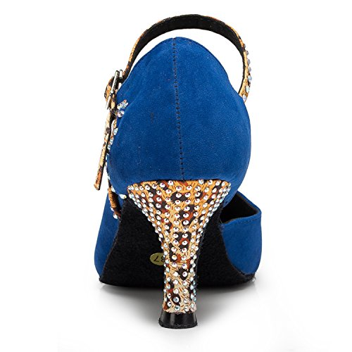 Minishion Mujeres Th179 Cerrado Toe Fashion Suede Leather Wedding Ballroom Latin Taogo Danza Bombas Zapatos Azul