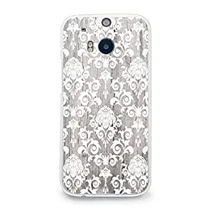 CasesByLorraine Wood Print Damask Floral Pattern PC Case Hard Back Case Cover for HTC One M8 2014 (G11) by ruishername