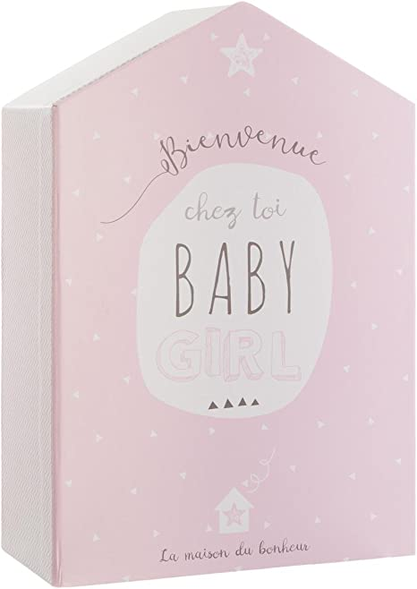 Caja de recuerdos de recién nacido + marco de fotos - Forma Casa - Color ROSA: Amazon.es: Bebé