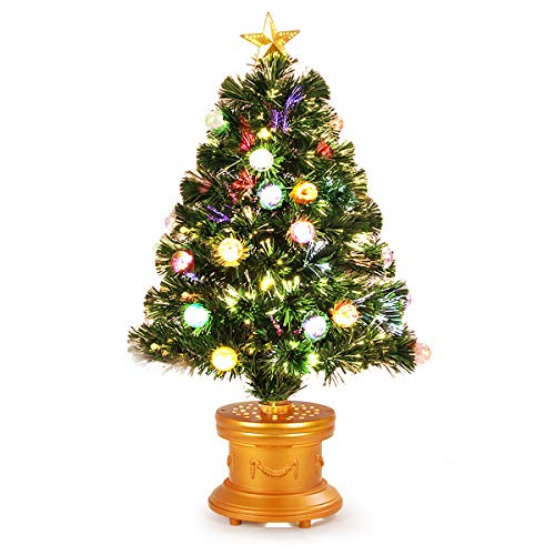 Goplus Christmas Tree Pre-Lit Tabletop Artificial Entrance Tree with The Plastic Colorful Balls & Golden Star Solid Base Premium Decorations Full Tree (3 FT Fiber Optic) (Holiday Time 32 Inch Fiber Optic Christmas Tree)