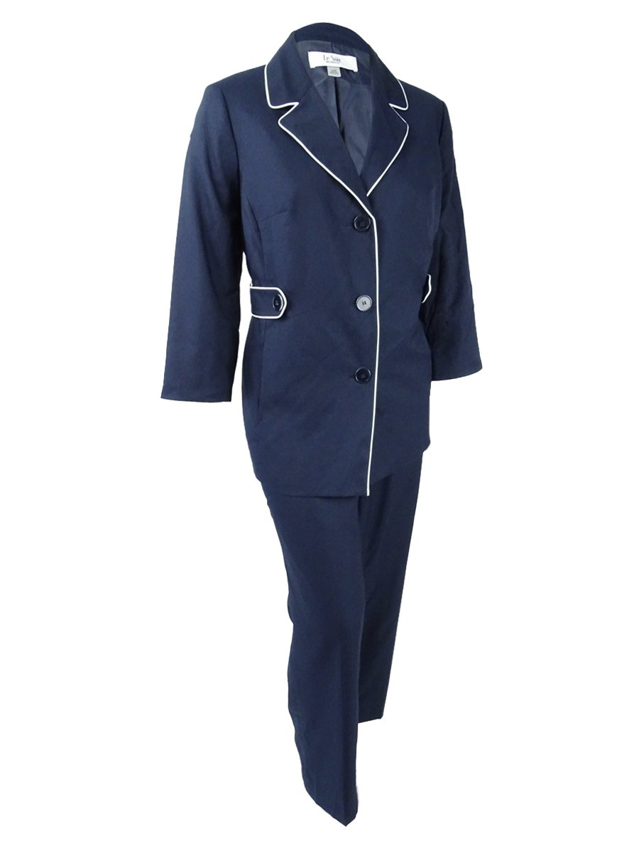 Le Suit Women's Plus Size Piped-Trim Pantsuit (16W, Navy/Vanilla Ice)