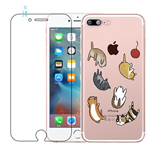 Funda iPhone 7 Plus, iPhone 8 Plus Caso de Gel de Silicona Transparente para TPU Custodia [con Protector de Pantalla de Vidrio Templado] para iPhone 7 Plus / iPhone 8 Plus - Cat #02