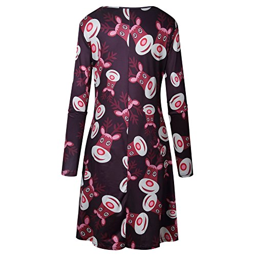 Christmas pullover Comfy Printed Black Plus Dress line A Tunic Women Deer Size qTzq1Z8