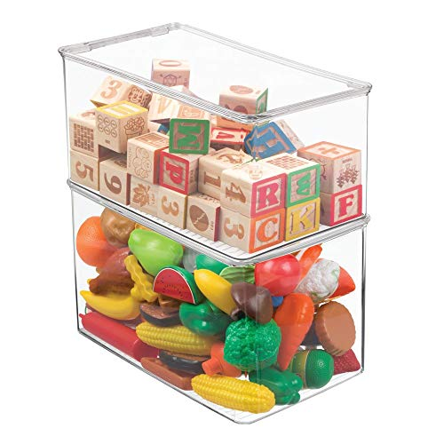 mDesign Stackable Closet Plastic Storage Bin Box with Lid - Container for Organizing Child's/Kids Toys, Action Figures, Crayons, Markers, Building Blocks, Puzzles, Crafts - 7