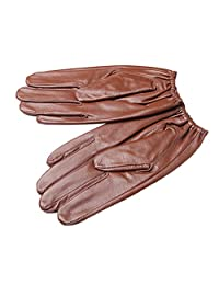 Oncefirst Men's Outdoor Windproof Genuine Leather Gloves Brown