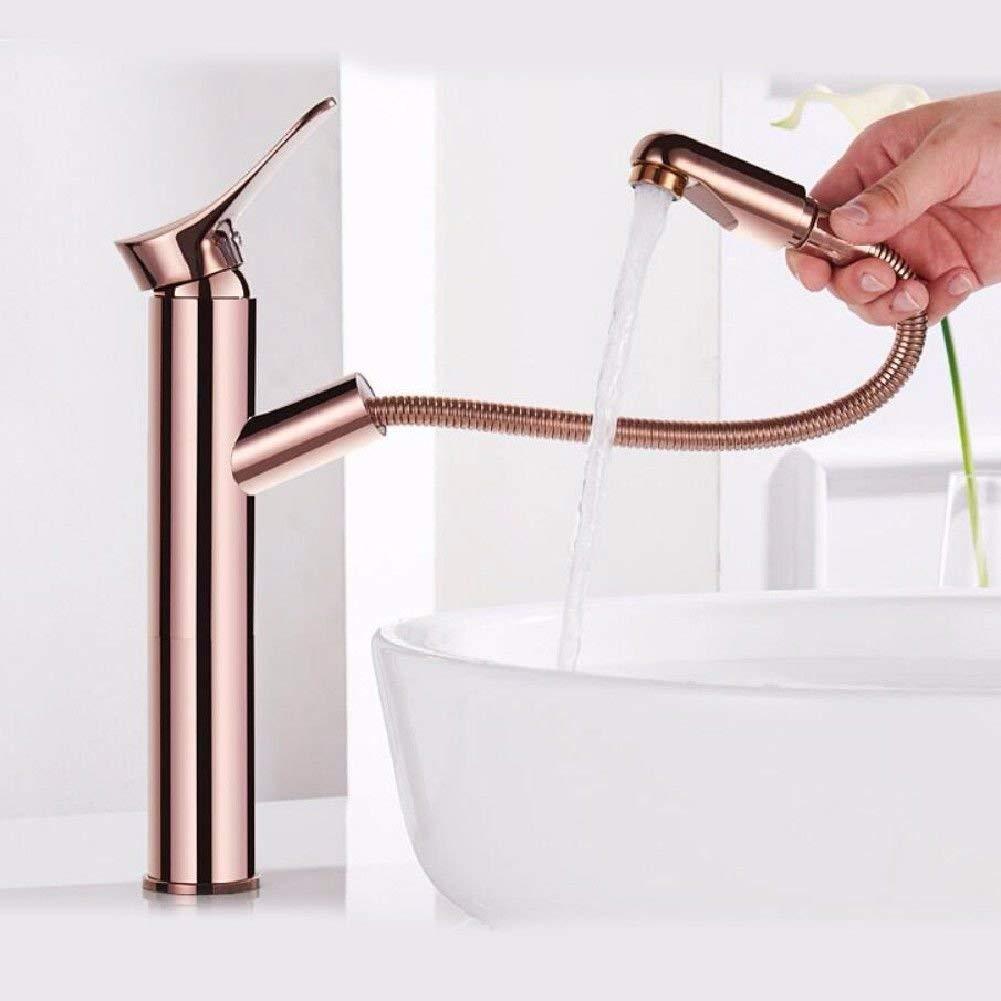 JingJingnet 洗面器ミキサータップ浴室のシンクの蛇口銅ローズゴールドプル洗面器用蛇口コンチネンタルホット&コールドハンドウォッシュ洗面台ミキサー洗えるヘッドスケーラブル (Color : High) B07S2P8VZR High