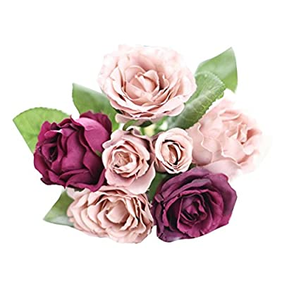 Gillberry 7 Heads Artificial Silk Fake Flowers Leaf Rose Wedding Floral Decor Bouquet