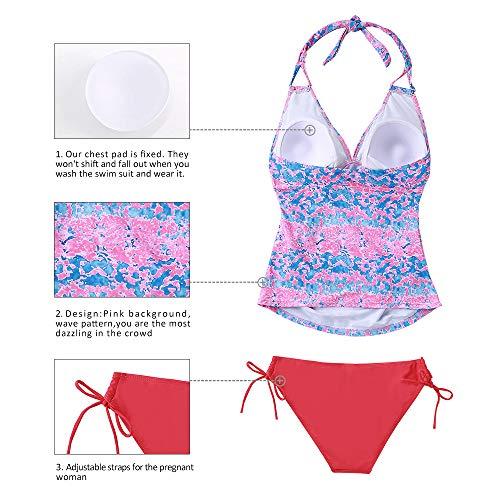 1ee2fa399bf88 Women Maternity Tankini Swimsuit Floral Pregnancy Plus Size Swimwear Black M