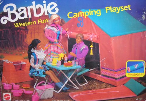 Barbie Western Fun Camping Playset W Sleeping Bag Tent