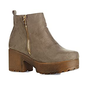 RF ROOM OF FASHION Women's Vegan Suede Slip On Side Zipper Round Toe Lug Platform Ankle Booties - GA02 Taupe (7.5)