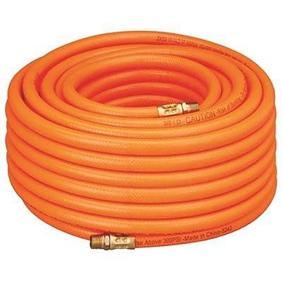 "Amflo 576-100A Orange 300 PSI PVC Air Hose 3/8"" x 100' With 1/4"" MNPT End Fittings"