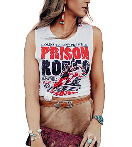 (Prison Rodeo T-Shirt Tank Tops Women Miss Texas Prison Rodeo Country Music Tee Size XL (White))