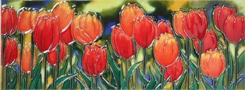 Hand Painted Field Tile - YH-Arts 6x16 Tulip Field, Multicolour, 40.6x15x0.9 cm