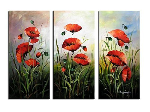 Noah Art-Modern Flower Art, Red Poppies Spring Flowers Picture 100% Hand Painted Flower Oil Paintings on Canvas Wall Art, 3 Piece Framed Floral Paintings for Bedrooms Wall Decor, 12x24inch x - Framed Poppies Canvas