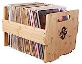 Sound Stash High End Bamboo Record Crate, Holds Up to 80 Records, Record Storage, Record Holder, Record Organizer, Vinyl Storage, LP Box, Vinyl Crate, Vinyl Organizer, Milk Crate