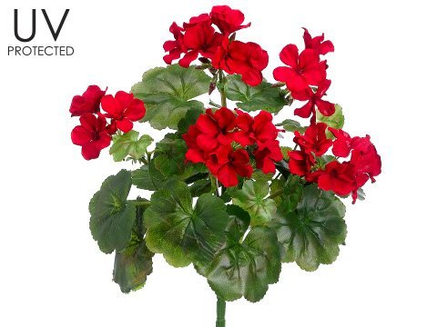 """UV Protected Outdoor Silk Geranium Bush in Red - 17"""" Tall"""