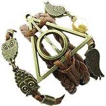 Willsa Retro Style Hallowed Out Owl Wings Triangle Bracelet 3 in 1 Pendants