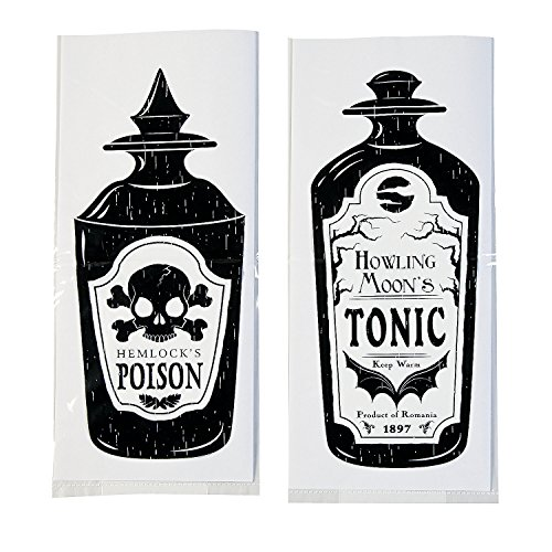 Fun Express - Spooky Soiree Cello Bags (dz) for Halloween - Party Supplies - Bags - Cellophane Bags - Halloween - 12 -