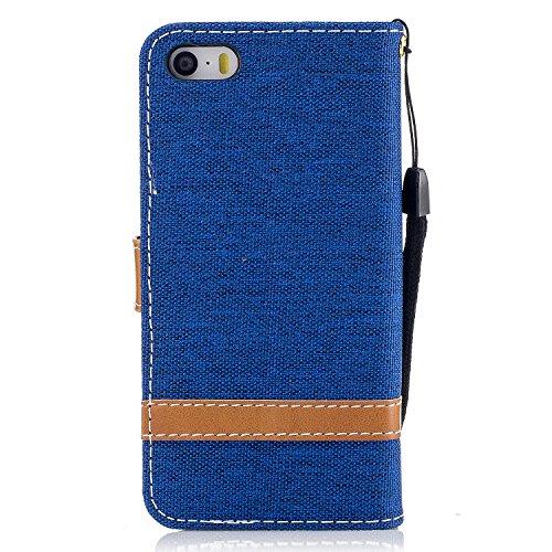 Funda para iPhone 5/5S/SE,MAGQI Cowboy Flip Billetera Carcasa [Estilo de Negocios] Función de Soporte Ranura para Tarjetas Cierre Magnético Parachoques Portátil Case - Azul Oscuro Azul Claro