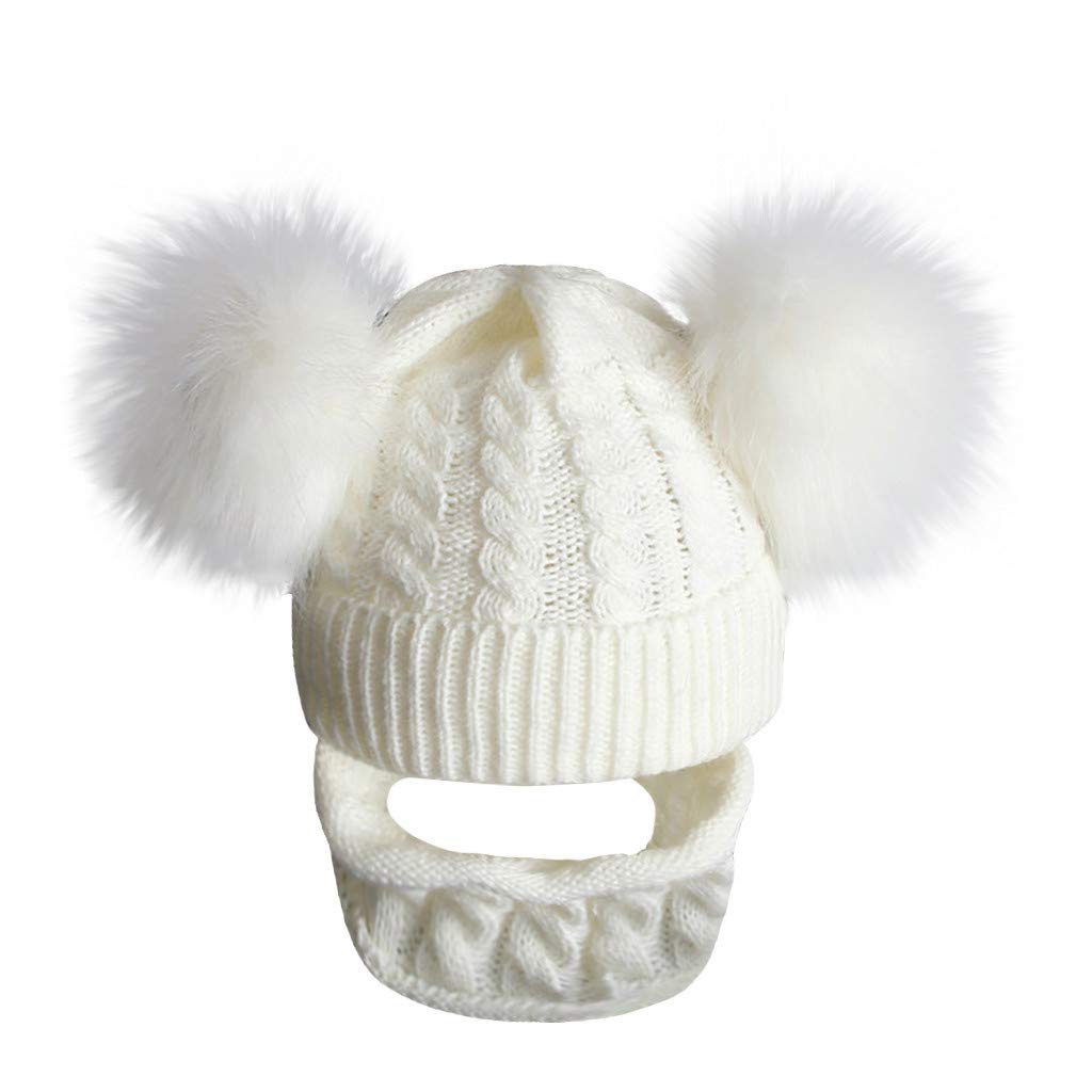 DRAGONHOO 2PCS Baby Hat Warmer, Baby Infant Toddler Hat Winter Warm Knit Hat Hiarball Cap Hat +Scarf Set (1-6 Years, White) by DRAGONHOO
