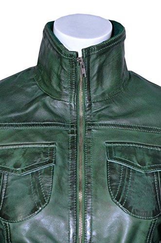 FUSION 'Mesdames GREEN WASHED Short Bomber Biker Style de Moto Veste en cuir