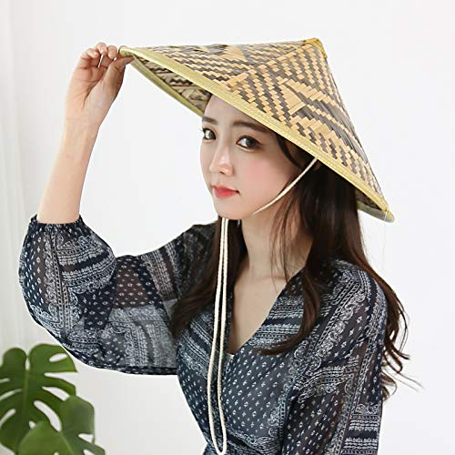 WITHMOONS Chinese Oriental Bamboo Straw Cone Garden Fishing Hat QZ90043
