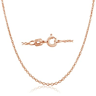 Kezef Rose Gold Plated Sterling Silver Italian 1.3mm Cable Chain Necklace with Spring Ring Closure mN0ckPA6p
