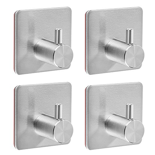 Self Adhesive Hooks, Heavy Duty Stainless Steel Key Hook Functional Hats, Coat, Robe, Towel,Brushed Bathroom Kitchen Hooks Hangers Wall Mounted, NO Drill, Waterproof (4 Packs)