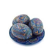 Set of 3 Blue Hand Painted 2,5'' Wooden Ukrainian Geometry ornament Easter Eggs (Pysanka) On Plate