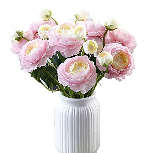 AliceHouse 20 Heads Artificial Peony Silk Flower Bouquet Home Office Wedding Party Decor DIY AF010 Pink
