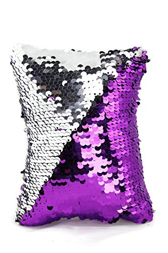 Little Monkey Fashion The Original Magic Sequin Fidget Pillow | Toy for Relaxing Therapy Increase Focus for Adults Children | Helps with Stress ADHD ADD Autism | Purple and Silver Rectangle - 1R