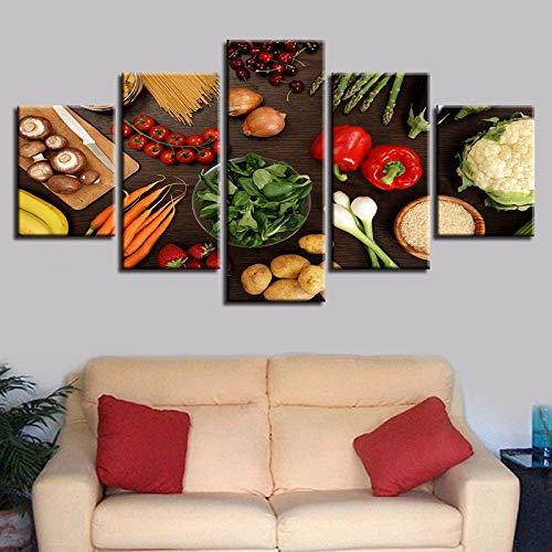 MengJing painting 5 pintura decorativa de arte de pared Vegetales seta pimienta patata zanahoria comida impresiones…