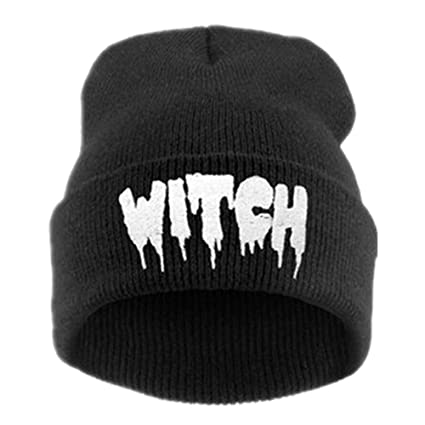 a9208883778 Image Unavailable. Image not available for. Color  Sikye Women Adjustable  Acrylic Fibres Knitting Hat Letter Witch Keep Warm Winter Beanie ...
