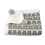 "effe bebe Snow Owl Cotton Knit Sherpa Baby Blanket 30""x40"" (Grey)"