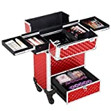 Yaheetech Rolling Makeup Case Professional Lock