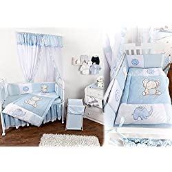 Baby bedding Boy Bed Desing 4 pcs Set Crib 100% Cotton Sateen Blue Elephant