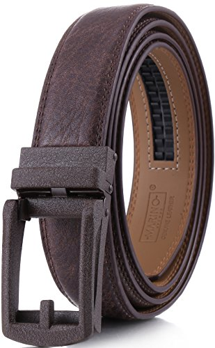 Marino Men's Genuine Leather Ratchet Dress Belt with Open Linxx Buckle, Enclosed in an Elegant Gift Box - Coffee Brown - Style 157 - Custom: Up to 44