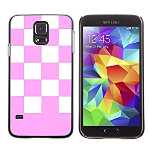 Graphic4You Checkered Pattern Design Hard Case Cover for Samsung Galaxy S5 (Light Pink)