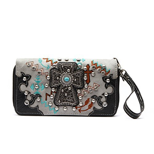 Western Wallet - Silver Embossed Cross with Traditional Western Turquoise Stone Concho Wallet with Rhinestone (Rhinestone Cross Concho)