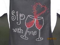 Wine-Sip With Me Love Rhinestone Apron