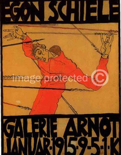 Egon Schiele Self Portrait as Saint Sebastian Galerie Arnot Giclee' Print (Egon Schiele Self Portrait)