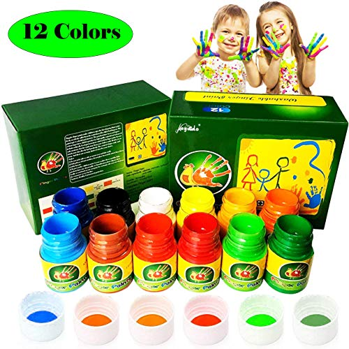 Magicdo 12 Cols Finger Paint Kit for Kids, Washable Paint Set, Non-Toxic Finger Painting Kit for Arts, Crafts and Posters, 12 X 30 ml (1.02 -