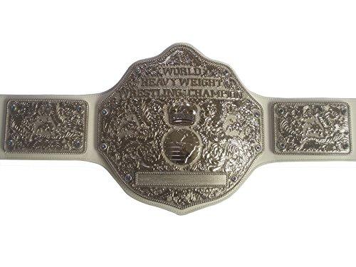 Fandu Belts Adult Big Gold Metal Full Nickel Wrestling Championship Belt Title 8mm Thick White Strap by Fandu Belts