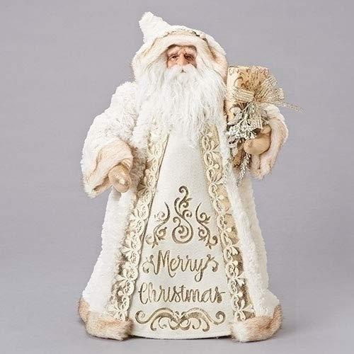 ローマ風 18インチ ゴールドカラーとホワイトのサンタ クリスマステーブルトッパー   B07GWWYQ83
