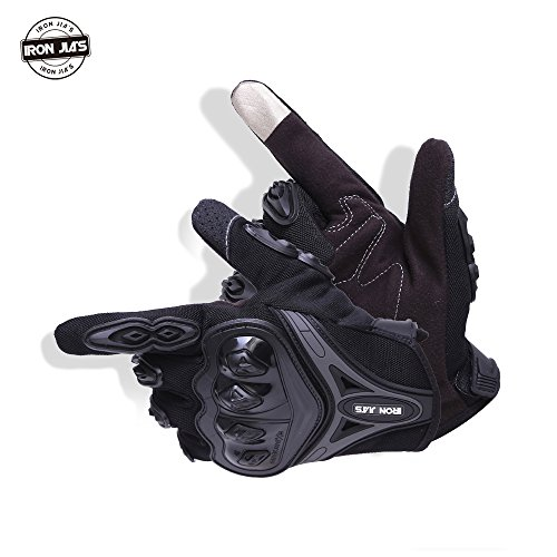Motorcycle gloves Full finger durable for road racing bike summer spring Powersports support touch screen BLACK-XL