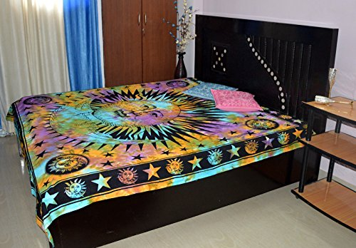 Marusthali Double Sun Moon Tie dye Bedspread Hippie Gypsy Bedding for Bedroom Bohemian Psychedelic Picnic Blanket Beach Throw Indian Bed ()
