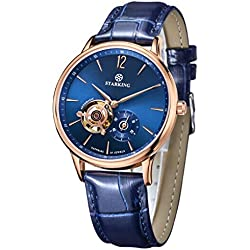 STARKING Men's AM0213RL77 Automatic Mechanical Skeleton Function Subdial Blue Face Genuine Leather Watch